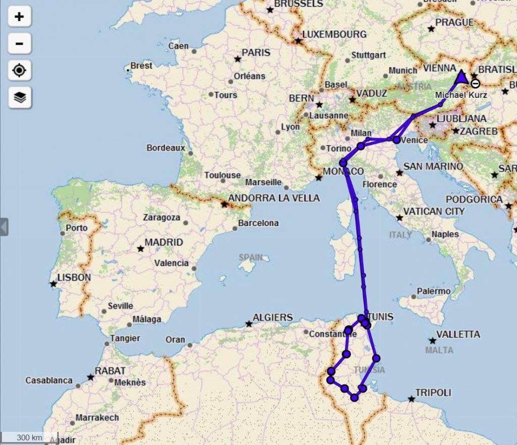 Tunesien Route 2017 grob